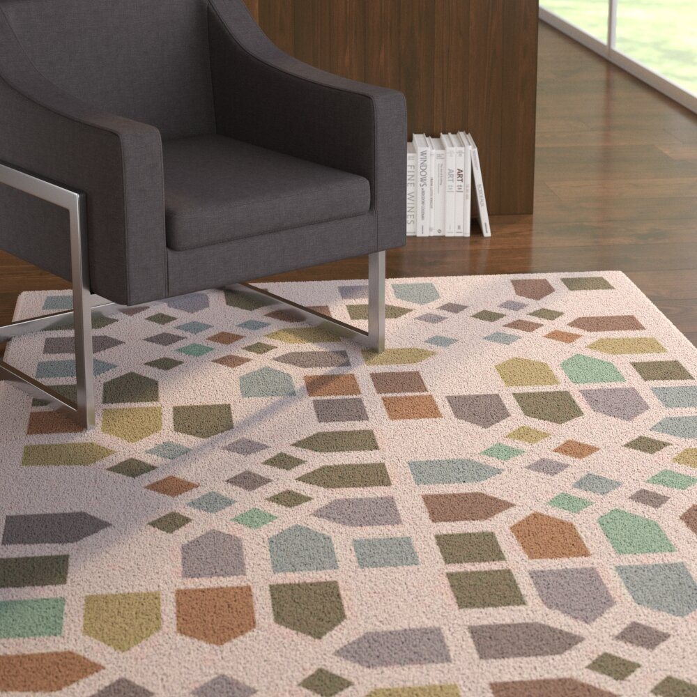 Latitude Run Abrielle Geometric Handmade Tufted Wool Green Beige Brown Olive Area Rug Wayfair