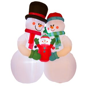 Lighted Snowman Family Decor Inflatable