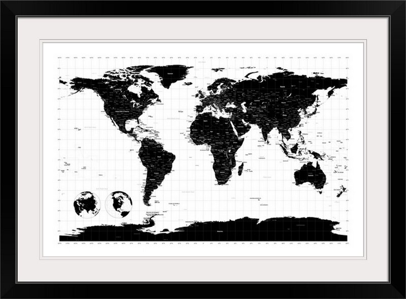 World map by michael tompsett graphic art print joss main world map by michael tompsett graphic art print gumiabroncs Image collections