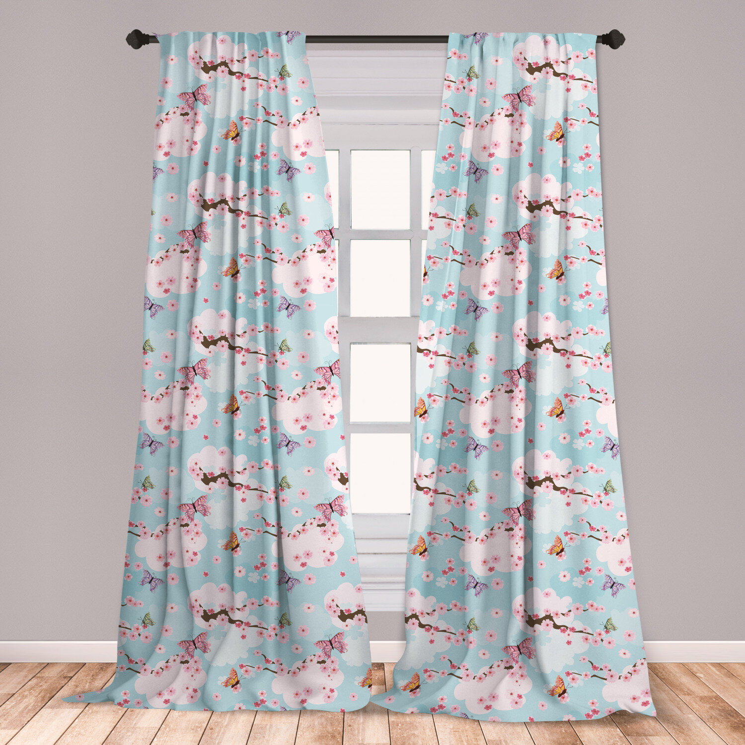 East Urban Home Cherry Blossom Floral Room Darkening Rod Pocket Curtain Panels Wayfair