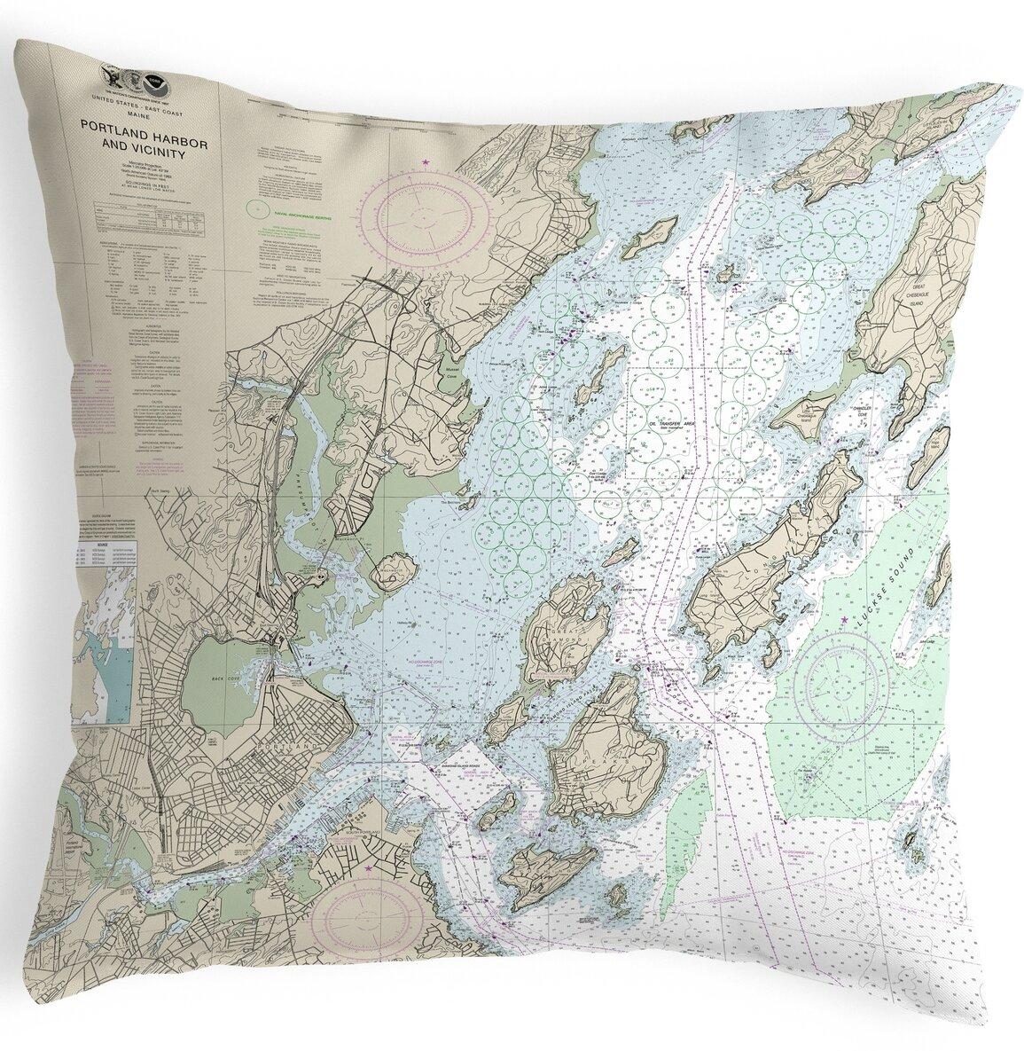 Highland Dunes Roush Portland Harbor And Vacinity Me Nautical Map Indoor Outdoor Lumbar Pillow Wayfair