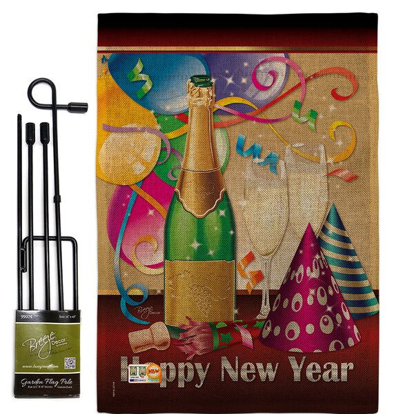Breeze Decor Happy New Year Winter Impressions 2 Sided Polyester 19 X 13 In Flag Set Wayfair