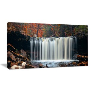 Autumn Waterfall With Colorful Foliage Photographic Print On Wrapped Canvas