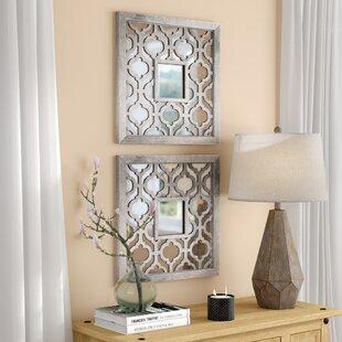 Uptal Square Silver Leaf Wall Mirror Set Of 2