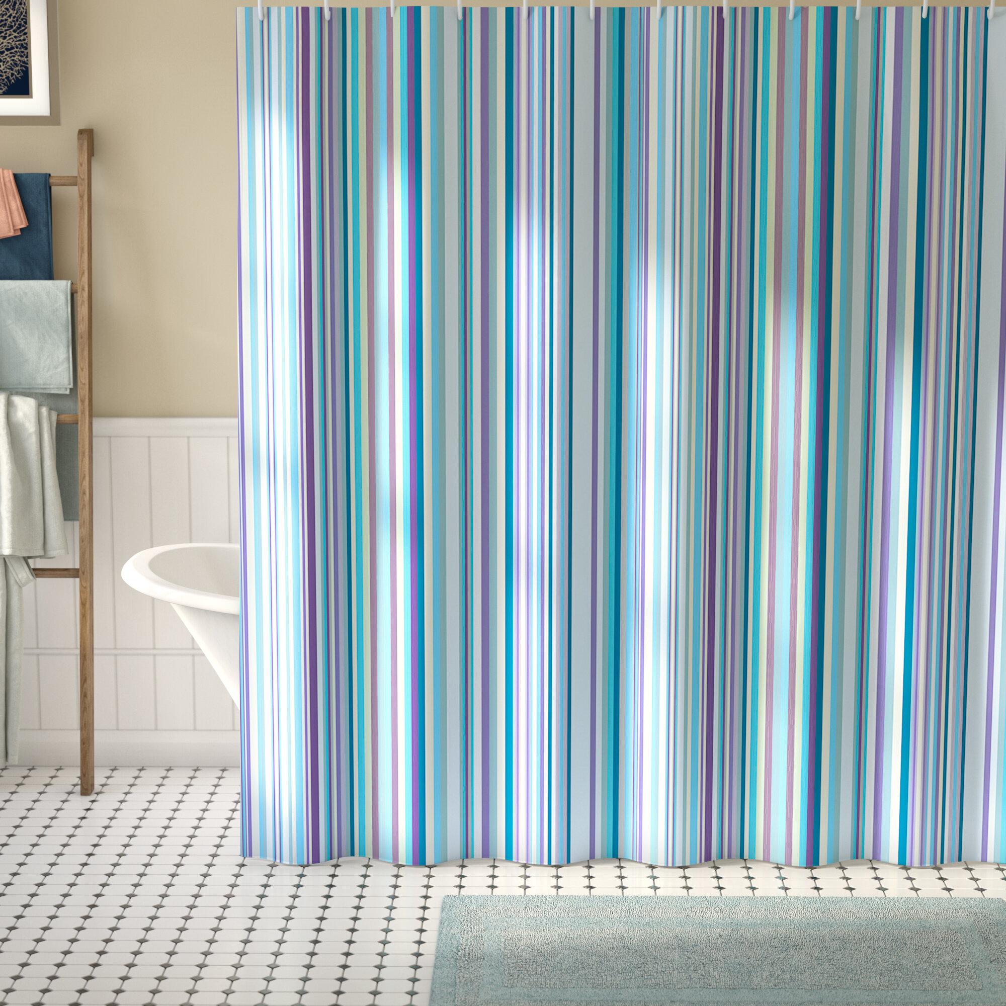 Syreeta Blue Purple Geometric Single Shower Curtain