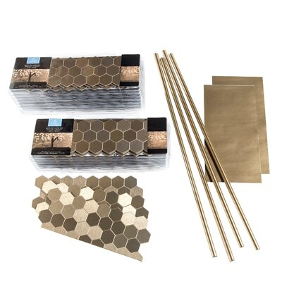 Aspect 4 x 12 Metal Peel & Stick Field Tile in Champagne