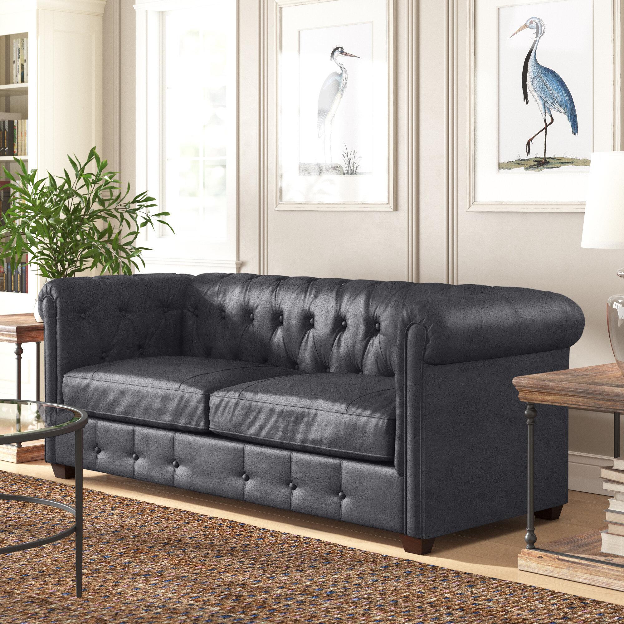 Birch Lane Hawthorn Genuine Leather Chesterfield 88 Rolled Arm Sofa Reviews Wayfair