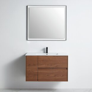 Roanoke 35 WallMounted Single Bathroom Vanity Set with Mirror by Foundry Select