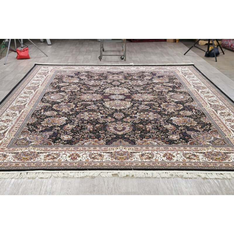 Charlton Home Obaseki Floral Turkish Oriental Black Ivory Area Rug Wayfair