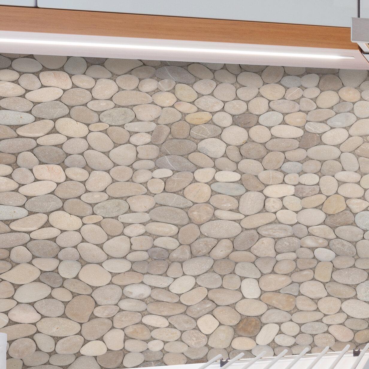 Pebble tile classic pebble random sized natural stone pebble tile in tan reviews wayfair