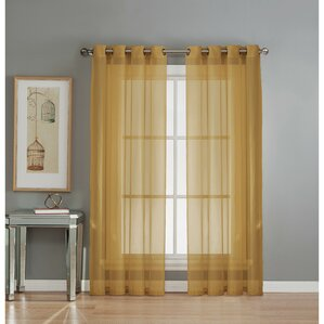 Agata Solid Sheer Grommet Single Curtain Panel