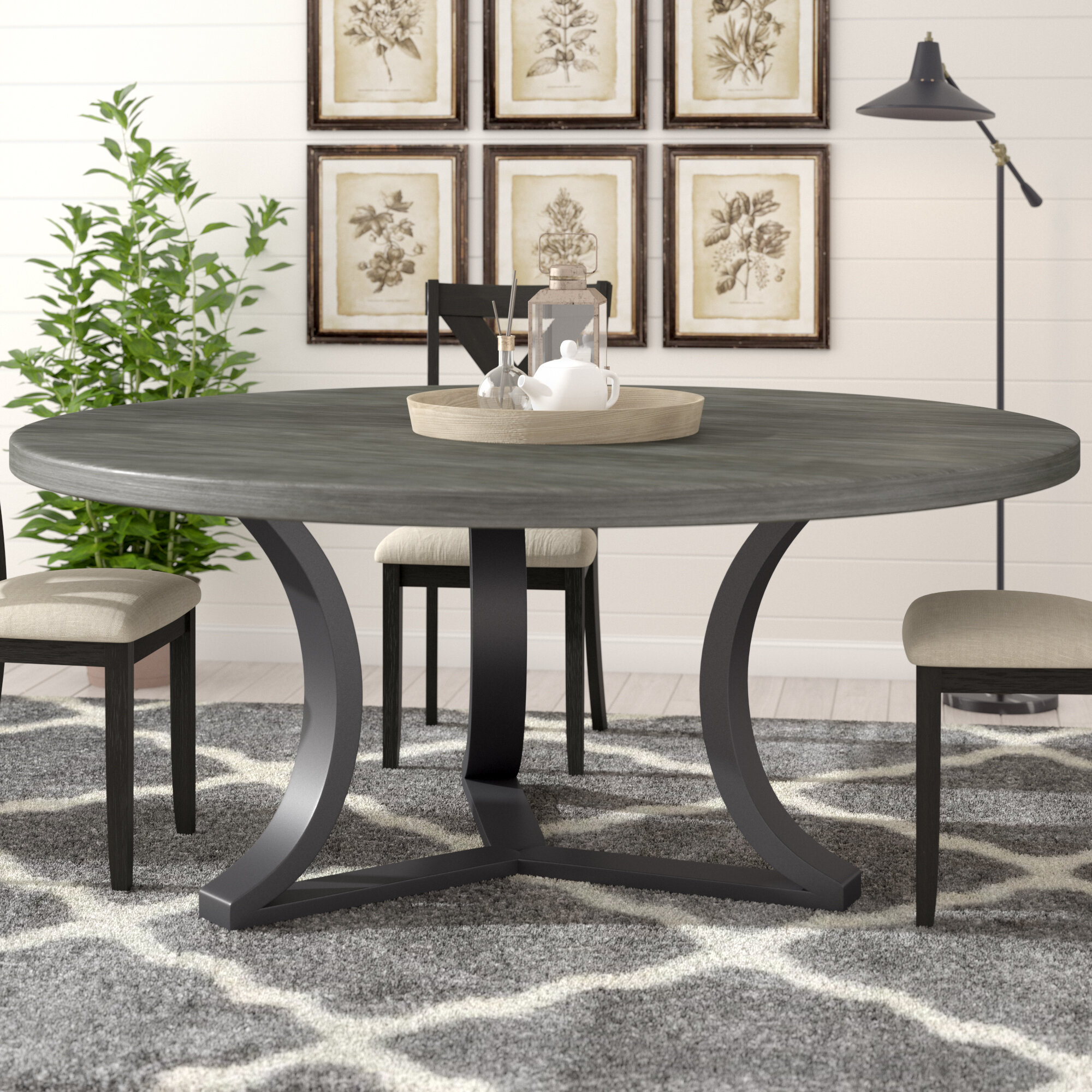 Gracie oaks louisa rounded dining table reviews wayfair