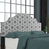 Edford Nail Button Notched Medallion Upholstered Panel Headboard by Wrought Studio™