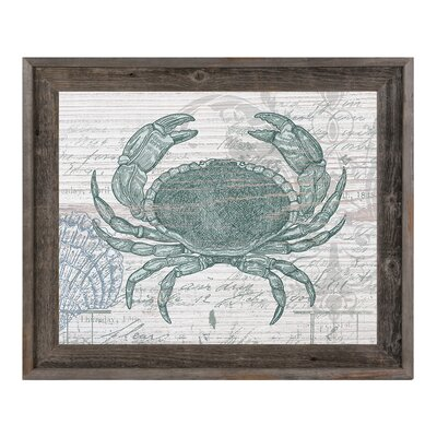 "Vintage Crab Framed Graphic Art on Canvas Click Wall Art Size: 14.5"" H x 17.5"" W x 1"" D"