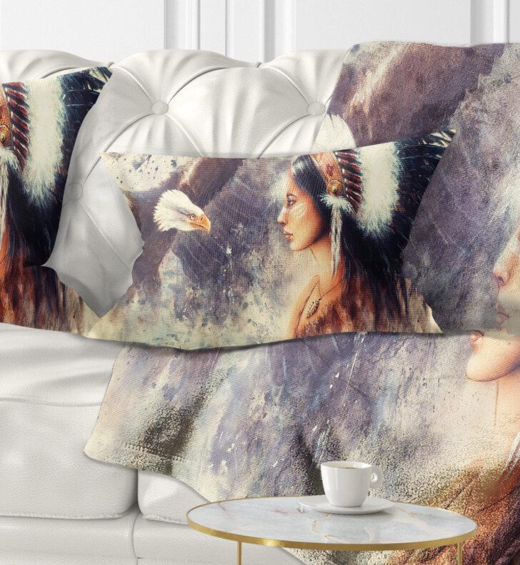 East Urban Home Portrait Indian Woman And Eagle Lumbar Pillow Wayfair