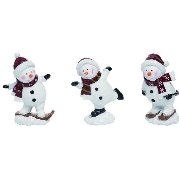 The Holiday Aisle 3 Piece Resin Christmas Look Skiing Snowman Figurine Set Wayfair