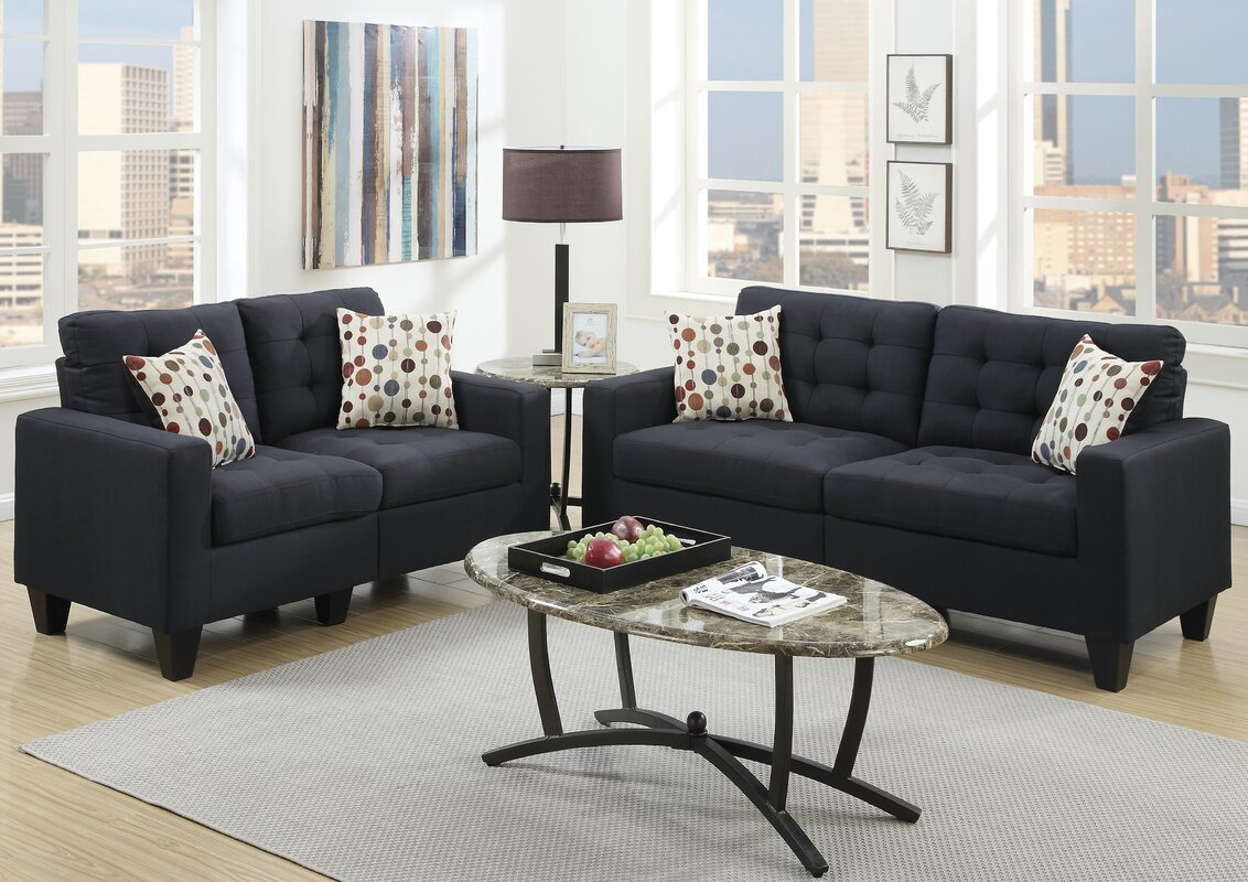 Andover mills callanan 2 piece living room set reviews for Sofa and 2 chairs living room