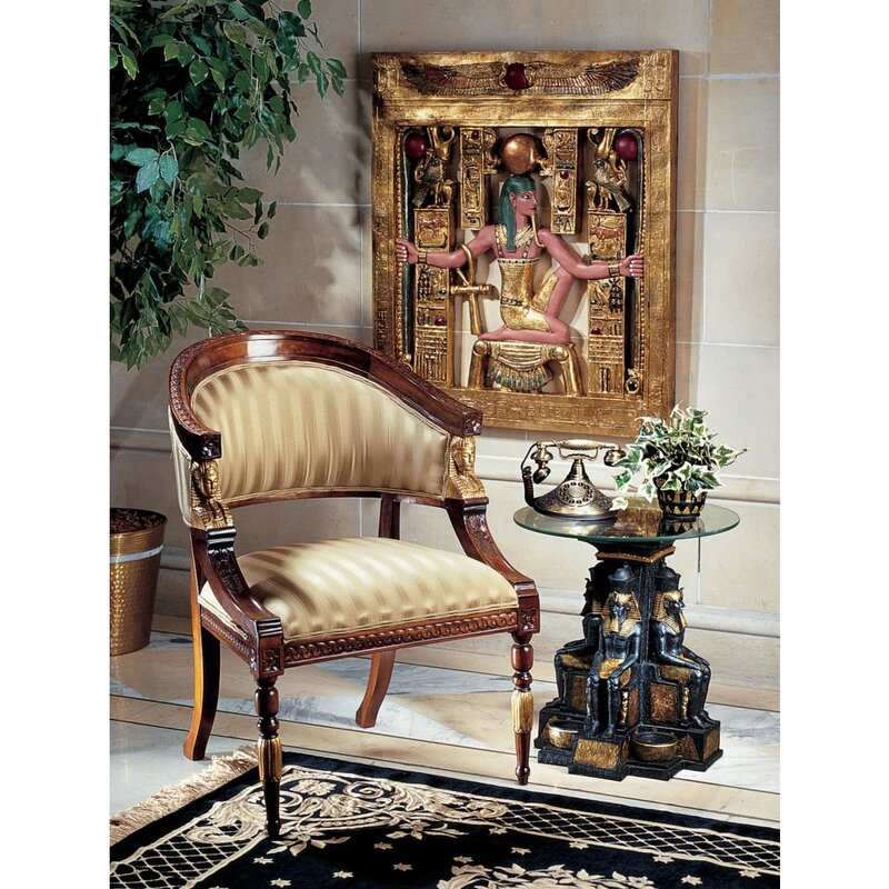 Egyptian Revival Fabric Barrel Chair