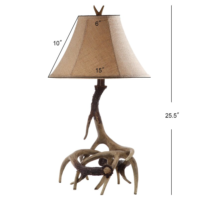 """Table Lamp Set of 2 Wood Branch Antler Base Fabric Shade Rustic Accent Light 25/"""""""