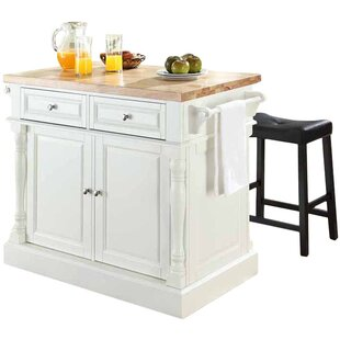 Haslingden 3 Piece Kitchen Island Set with Butcher Block Top Three Posts