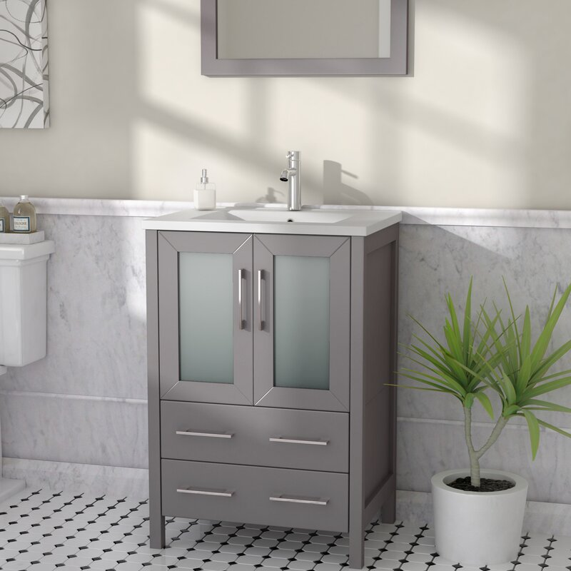 "Wade Logan Karson 24"" Single Bathroom Vanity Set with ..."