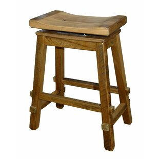 Teddy 24 Barnwood Swivel Saddle Stool Millwood Pines
