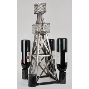 Industrial Evolution Handmade Oil Derrick 4 Bottle Tabletop Wine Rack by Metrotex Designs