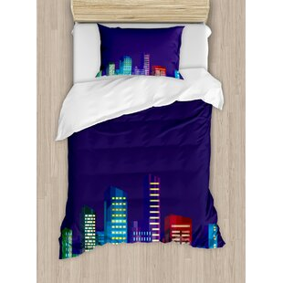 Cartoon Print of City Scenery Landscape of Apartments and Buildings Artwork Duvet Set by East Urban Home