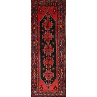 Reviews One-of-a-Kind Ornelas Traditional Hamadan Persian Hand-Knotted Runner 3'8 x 10'3 Wool Red/Black Area Rug By Isabelline