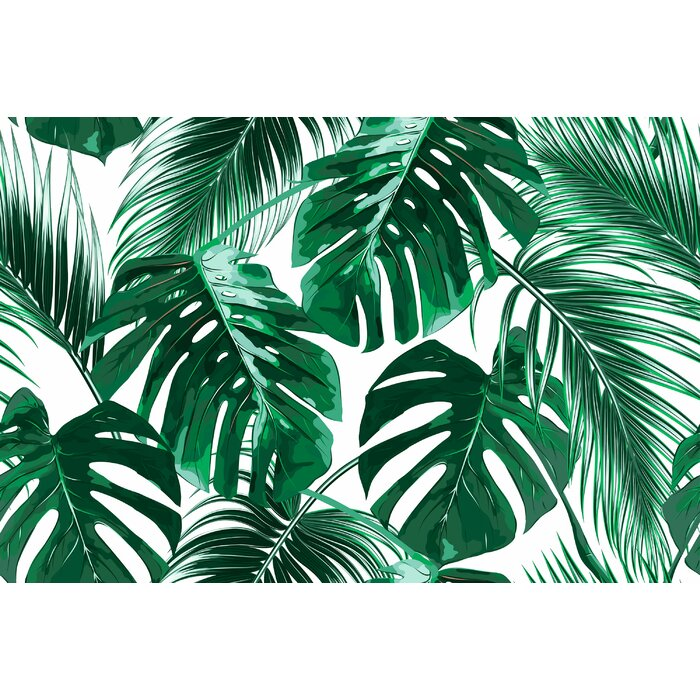 Joana Removable Tropical Palm Leaves 7 92 L X 150 W Peel And Stick Wallpaper Roll
