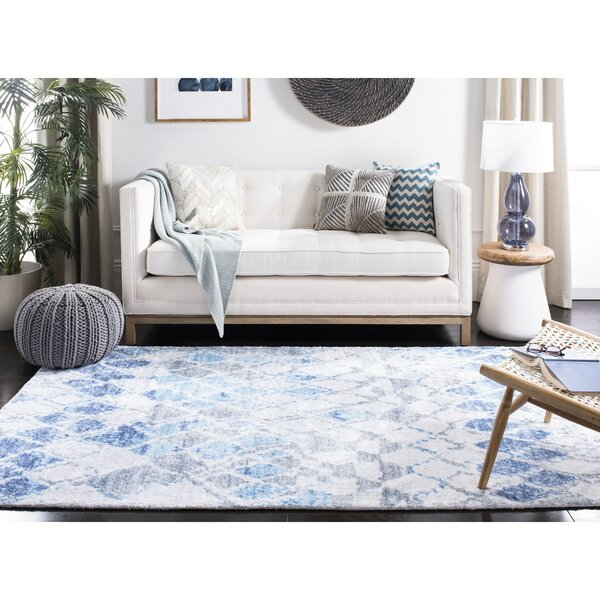 Wrought Studio Conness Abstract Handmade Tufted Ivory Blue Area Rug Wayfair