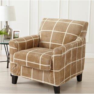 Velvet Plush Box Cushion Armchair Slipcover