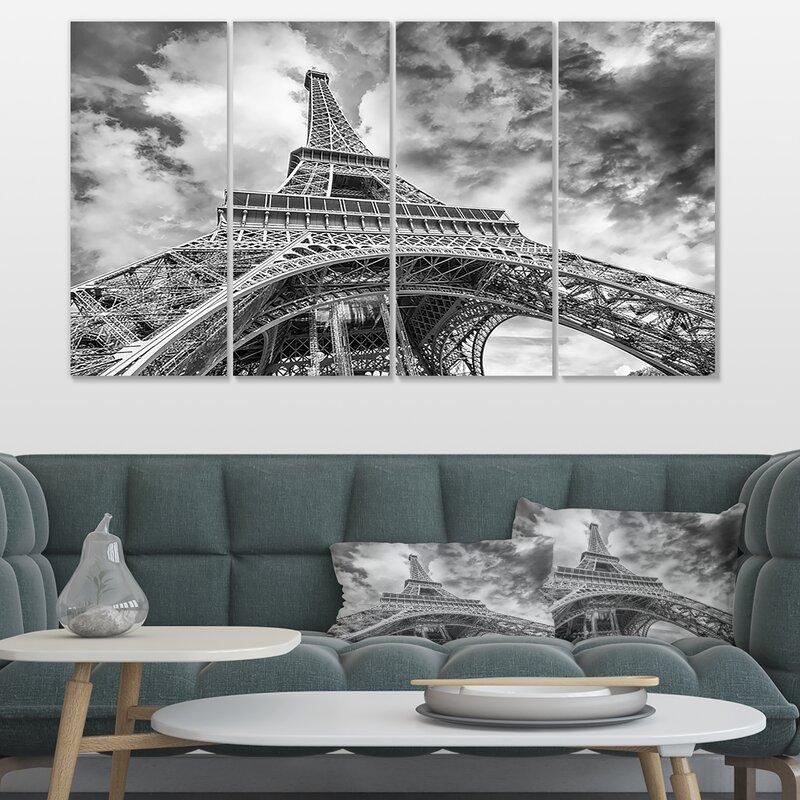 Designart Black And White View Of Paris Eiffel Tower Graphic Art Print Multi Piece Image On Wrapped Canvas Reviews Wayfair