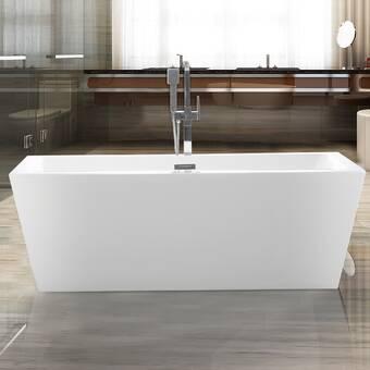 Vanity Art 59 X 30 Freestanding Soaking Acrylic Bathtub Reviews Wayfair Ca