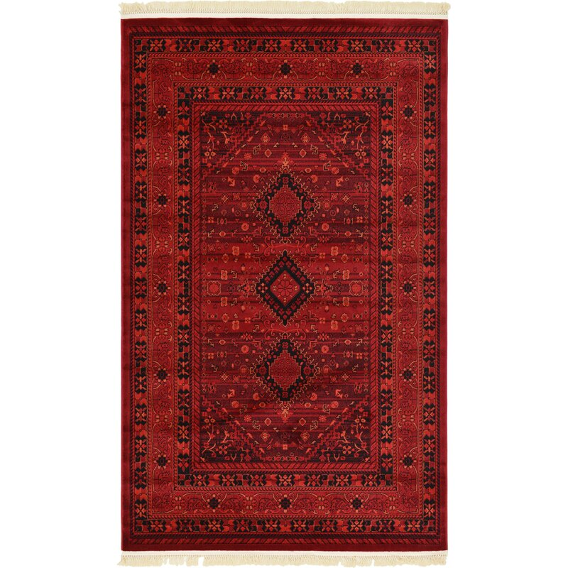 Wayfair All Modern: World Menagerie Kowloon Red Area Rug & Reviews