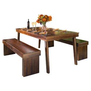 Stodola 3 Piece Solid Wood Dining Set