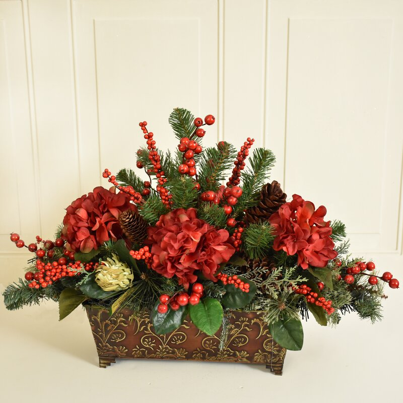 floral home decor pine and berry christmas floral arrangement rh wayfair com christmas silk floral arrangements pinterest christmas artificial flower arrangements for graves