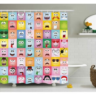 Dianna Humor Set of Internet Cartoon Meme Funny Facial Gesture Emotion Icons Digital Illustration Shower Curtain + Hooks