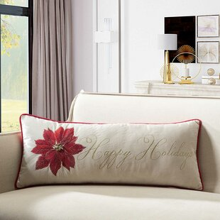 Housley Happy Holiday Poinsettia Indoor/Outdoor Lumbar Pillow