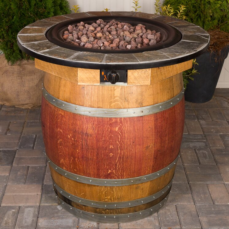 Gentil Wine Barrel Steel Propane Fire Pit Table