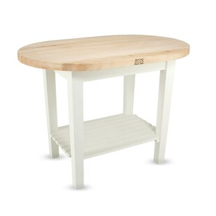 Eliptical C-Table Prep Table with Butcher Block Top John Boos