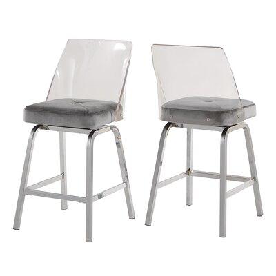 Everly Quinn Haskell 24 Swivel Bar Stool Upholstery: Gray