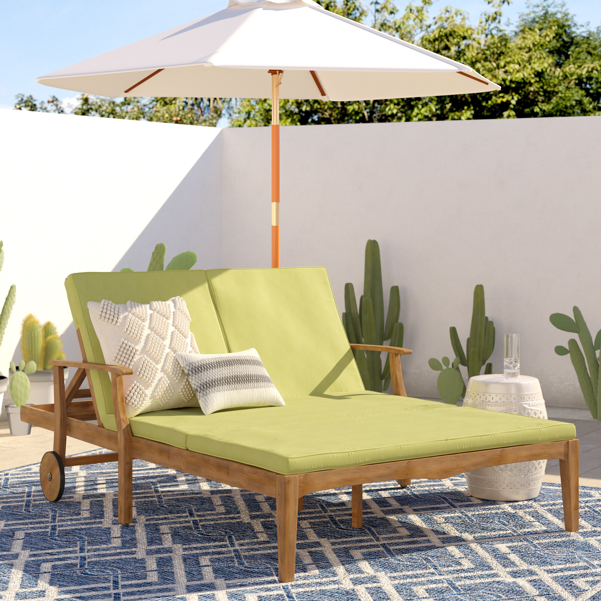 Surprising Antonia Double Reclining Teak Chaise Lounge With Cushion Bralicious Painted Fabric Chair Ideas Braliciousco