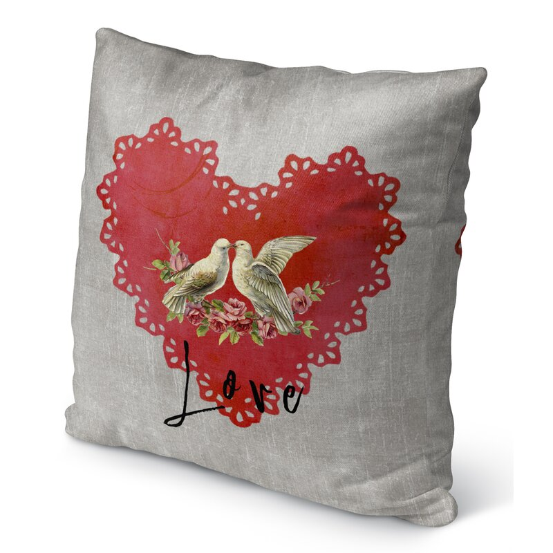 KAVKA Designs Love Birds Indoor-Outdoor Pillow, Pink//Grey//Green//Ivory - TRADITIONS Collection TELAVC8160OP16 Size: 16X16X6 -