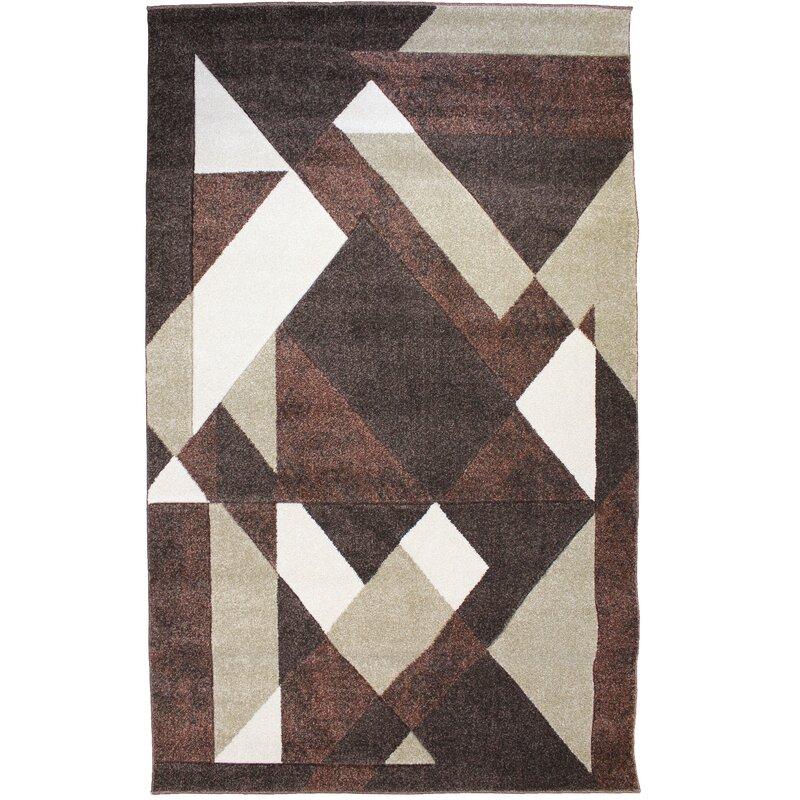 Dura Geometric Chocolate Brown Area Rug