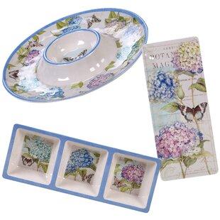Marquis Hydrangea 3 Piece Melamine Platter Set
