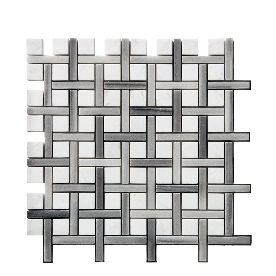 Stone Mosaic Tile In White