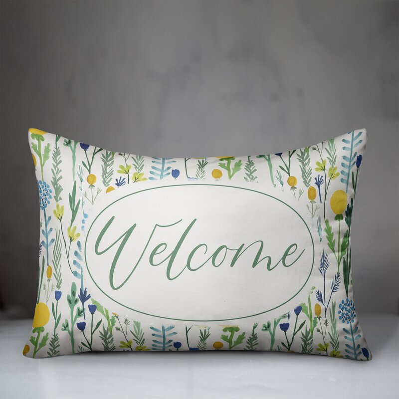 August Grove Aberforth Welcome Outdoor Rectangular Pillow Cover And Insert Wayfair