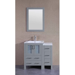 Best Reviews Mains 37 Single Bathroom Vanity Set with Mirror By Breakwater Bay