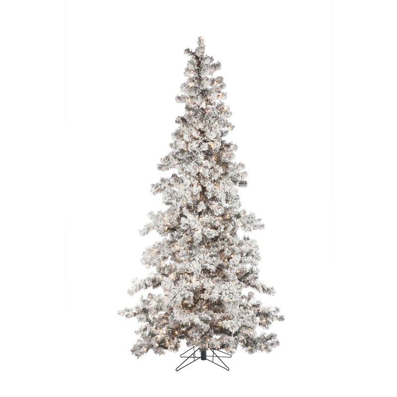 Heavy Flocked Layered 7.5' White Spruce Artificial Christmas Tree with 550 Clear Lights with Stand & Reviews | Birch Lane